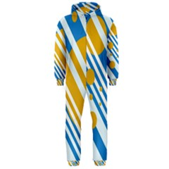 Blue, yellow and white lines and circles Hooded Jumpsuit (Men)
