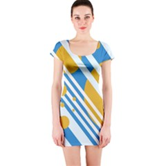 Blue, yellow and white lines and circles Short Sleeve Bodycon Dress