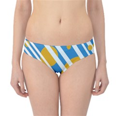 Blue, yellow and white lines and circles Hipster Bikini Bottoms