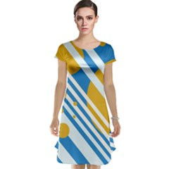 Blue, yellow and white lines and circles Cap Sleeve Nightdress