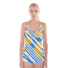 Blue, yellow and white lines and circles Boyleg Halter Swimsuit