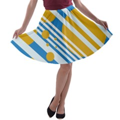 Blue, yellow and white lines and circles A-line Skater Skirt