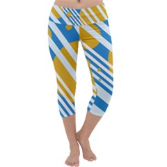 Blue, yellow and white lines and circles Capri Yoga Leggings
