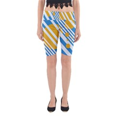 Blue, yellow and white lines and circles Yoga Cropped Leggings