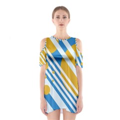 Blue, yellow and white lines and circles Cutout Shoulder Dress