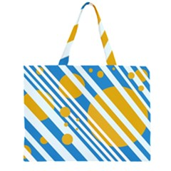 Blue, yellow and white lines and circles Zipper Large Tote Bag