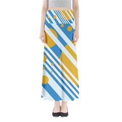 Blue, yellow and white lines and circles Maxi Skirts