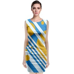 Blue, Yellow And White Lines And Circles Classic Sleeveless Midi Dress