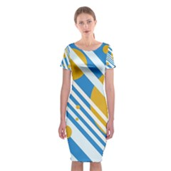 Blue, yellow and white lines and circles Classic Short Sleeve Midi Dress