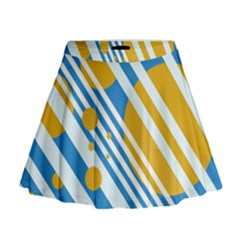 Blue, Yellow And White Lines And Circles Mini Flare Skirt