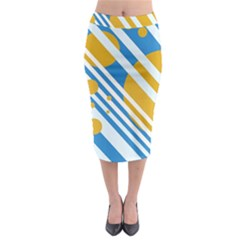 Blue, yellow and white lines and circles Midi Pencil Skirt