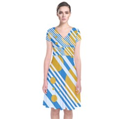 Blue, Yellow And White Lines And Circles Short Sleeve Front Wrap Dress