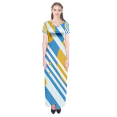 Blue, Yellow And White Lines And Circles Short Sleeve Maxi Dress