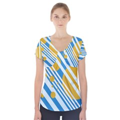 Blue, yellow and white lines and circles Short Sleeve Front Detail Top