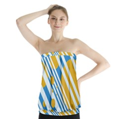 Blue, Yellow And White Lines And Circles Strapless Top