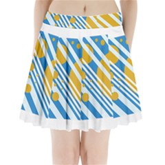Blue, yellow and white lines and circles Pleated Mini Mesh Skirt