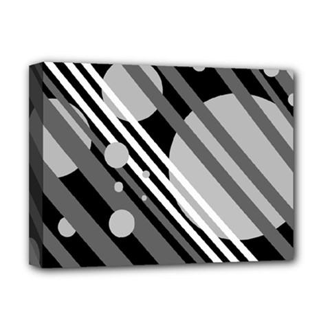 Gray lines and circles Deluxe Canvas 16  x 12