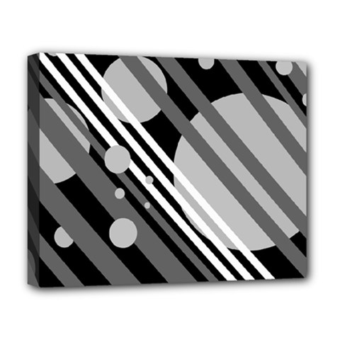 Gray lines and circles Deluxe Canvas 20  x 16