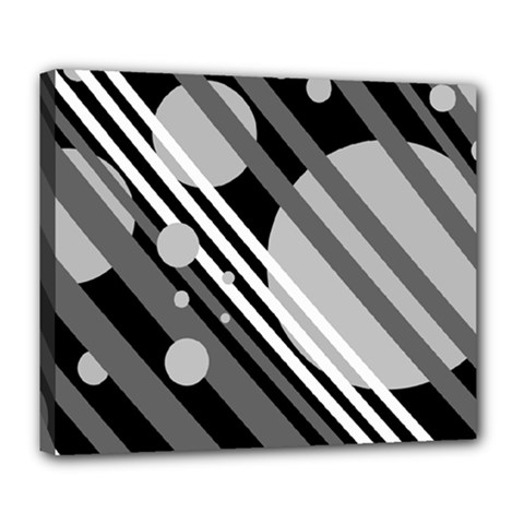 Gray lines and circles Deluxe Canvas 24  x 20