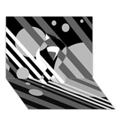 Gray lines and circles Ribbon 3D Greeting Card (7x5)