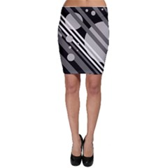 Gray lines and circles Bodycon Skirt