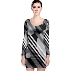 Gray lines and circles Long Sleeve Bodycon Dress