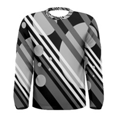 Gray lines and circles Men s Long Sleeve Tee