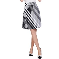 Gray lines and circles A-Line Skirt