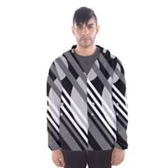 Gray lines and circles Hooded Wind Breaker (Men)