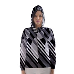 Gray lines and circles Hooded Wind Breaker (Women)