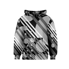 Gray lines and circles Kids  Pullover Hoodie