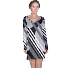 Gray lines and circles Long Sleeve Nightdress