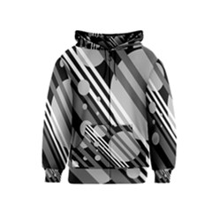Gray lines and circles Kids  Zipper Hoodie
