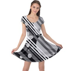 Gray lines and circles Cap Sleeve Dresses