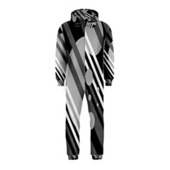 Gray lines and circles Hooded Jumpsuit (Kids)