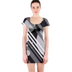 Gray lines and circles Short Sleeve Bodycon Dress