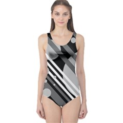 Gray lines and circles One Piece Swimsuit