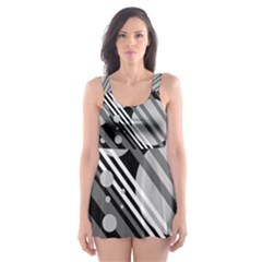 Gray lines and circles Skater Dress Swimsuit