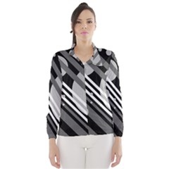 Gray lines and circles Wind Breaker (Women)