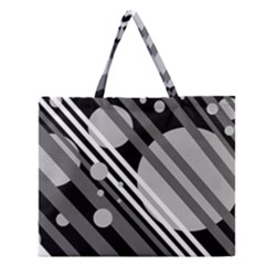 Gray lines and circles Zipper Large Tote Bag