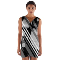 Gray lines and circles Wrap Front Bodycon Dress