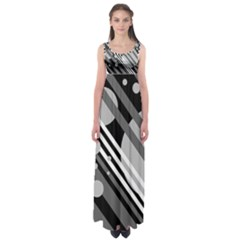 Gray lines and circles Empire Waist Maxi Dress