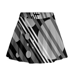 Gray lines and circles Mini Flare Skirt