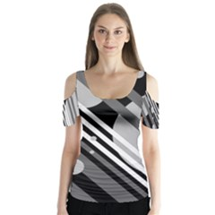 Gray lines and circles Butterfly Sleeve Cutout Tee