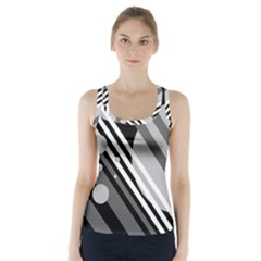 Gray lines and circles Racer Back Sports Top