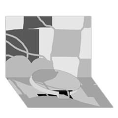 Gray hart Circle Bottom 3D Greeting Card (7x5)
