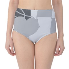 Gray hart High-Waist Bikini Bottoms