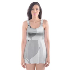 Gray hart Skater Dress Swimsuit