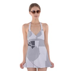 Gray hart Halter Swimsuit Dress
