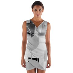Gray Hart Wrap Front Bodycon Dress